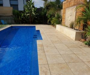 Outdoor lime stone pool side cleaning by TSA